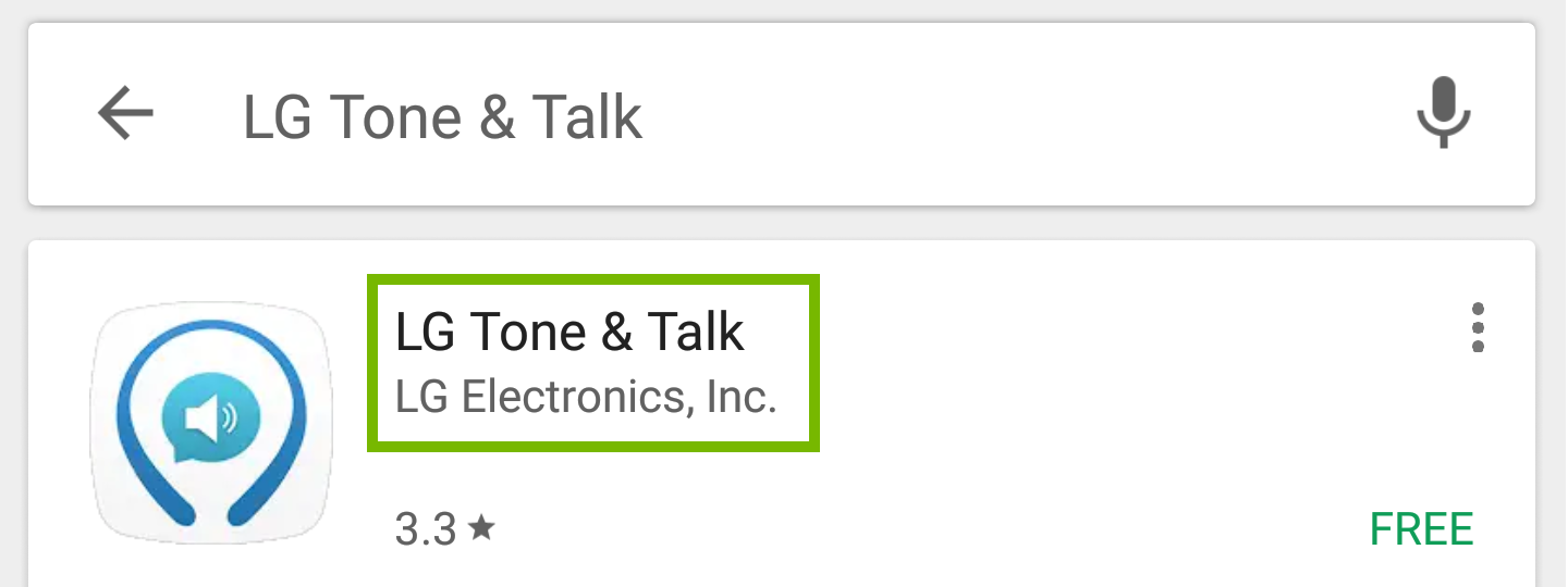 Play store search with L G Tone and talk highlighted