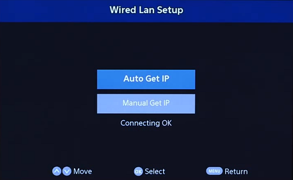 Wired Lan Setup Connected. Screenshot