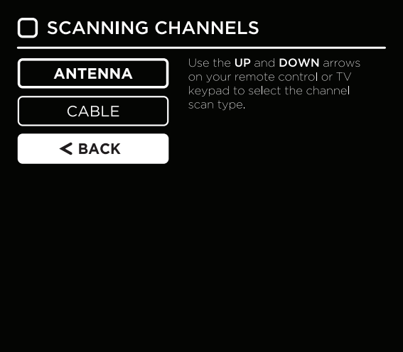Channel source selection screen