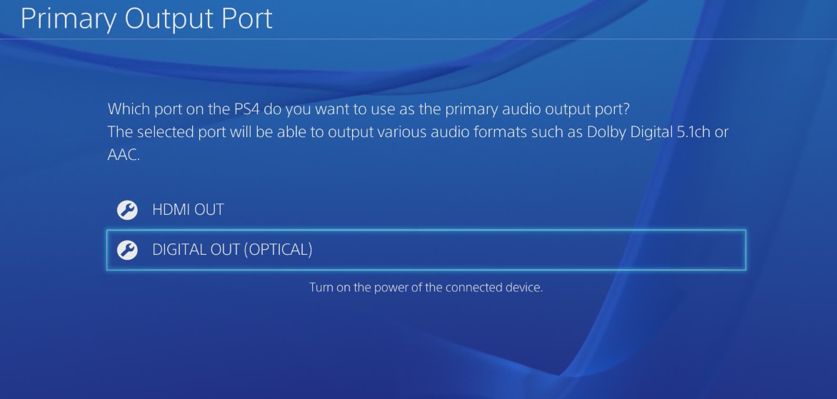Primary Output Port settings: HDMI OUT and DIGITAL OUT. Screenshot.
