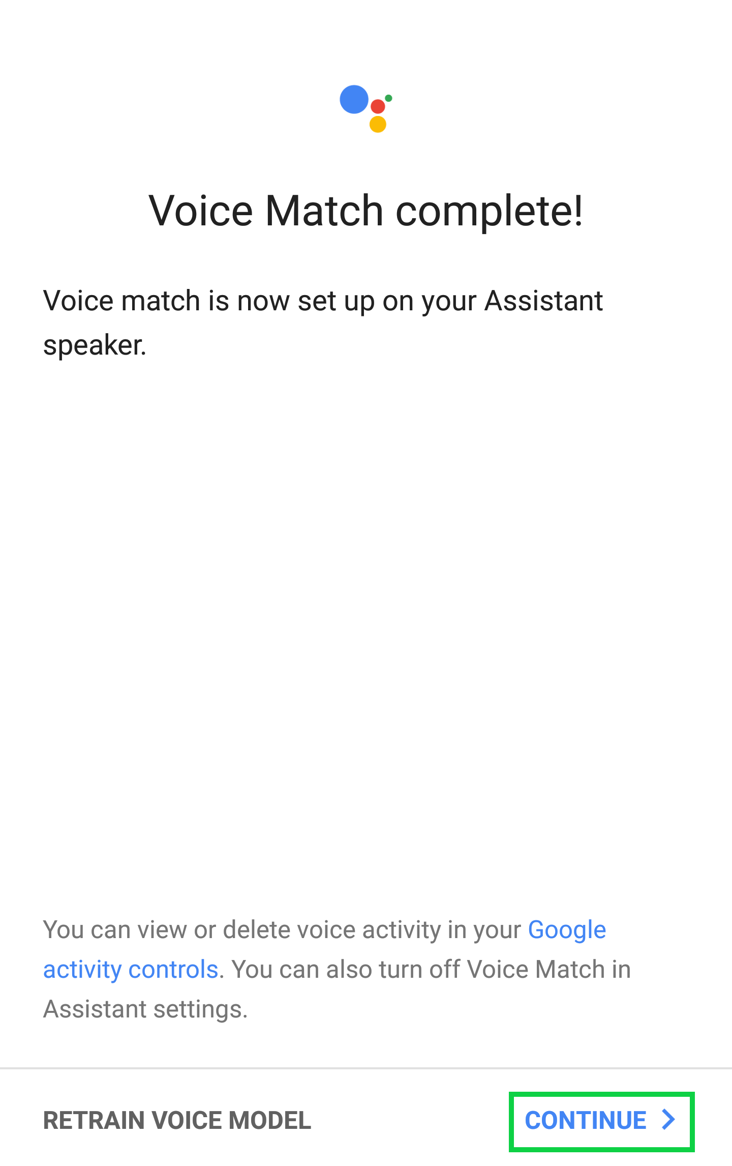 Voice Match Complete page with Continue highlighted