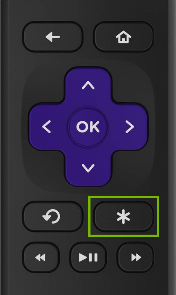 Options button highlighted on Roku remote.
