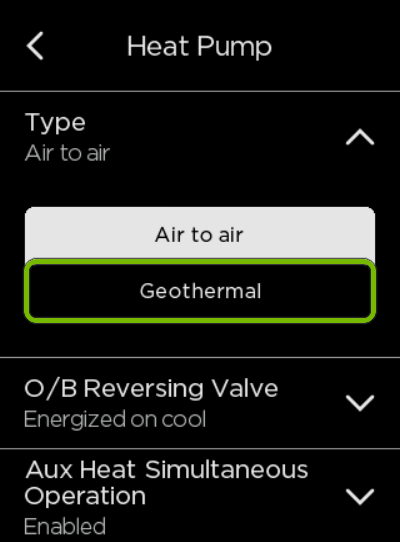 Geothermal option highlighted in ecobee settings.