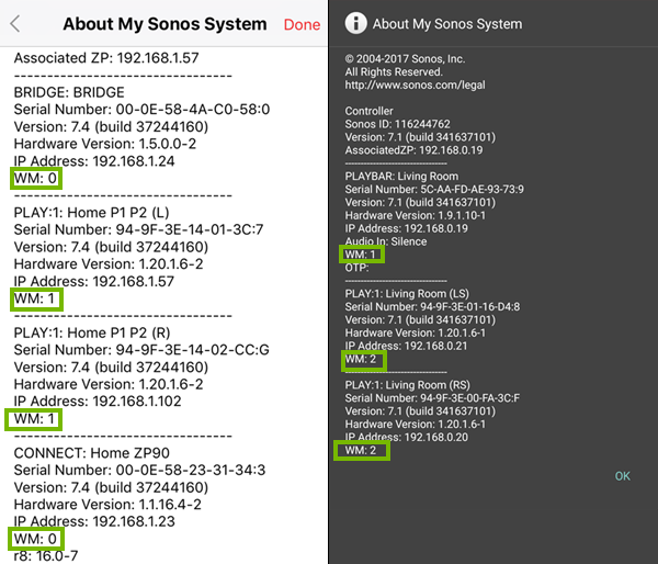 Sonos information for mobile devices