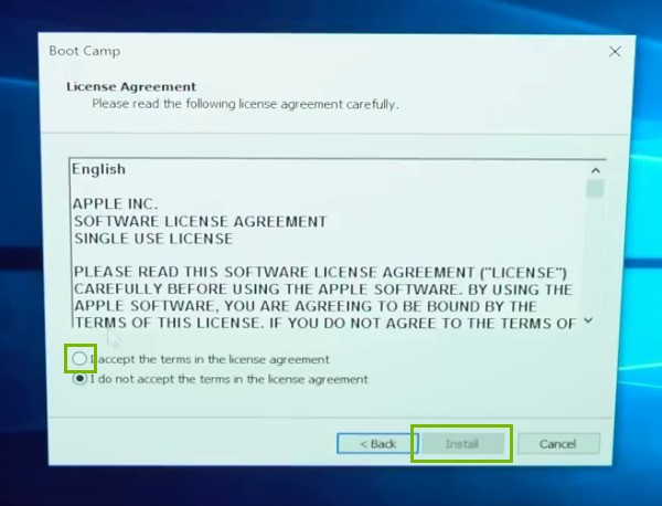 License Agreement with agree and  Install highlighted