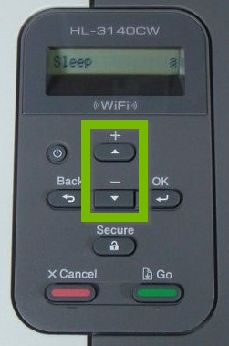 Printer control panel with Up and Down buttons highlighted.