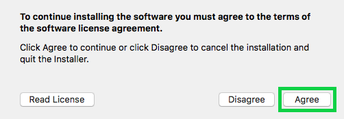 license agree confirmation with the agree button highlighted