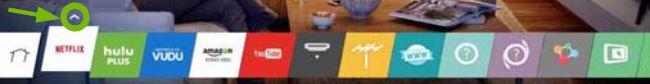 Upward arrow highlighted above app icon.