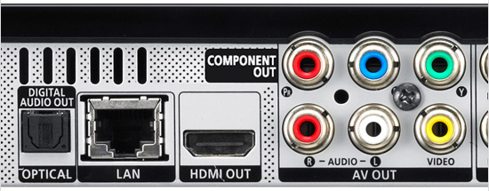 Example outputs on back of home theater equipment