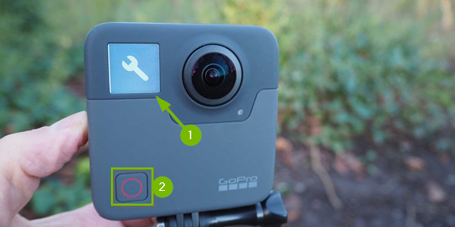GoPro Fusion screen with wrench icon. Shutter button highlighted below.