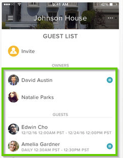 August Home app showing users
