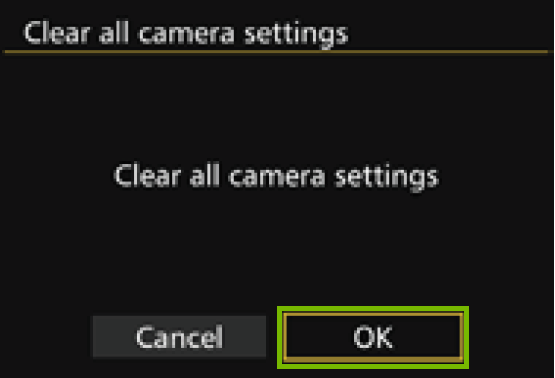clear all camera settings with ok highlighted
