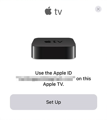 Initiating Apple TV setup from iOS device.