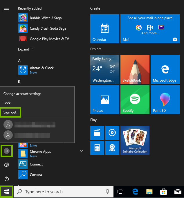 start menu with profiles and sign out highlighted