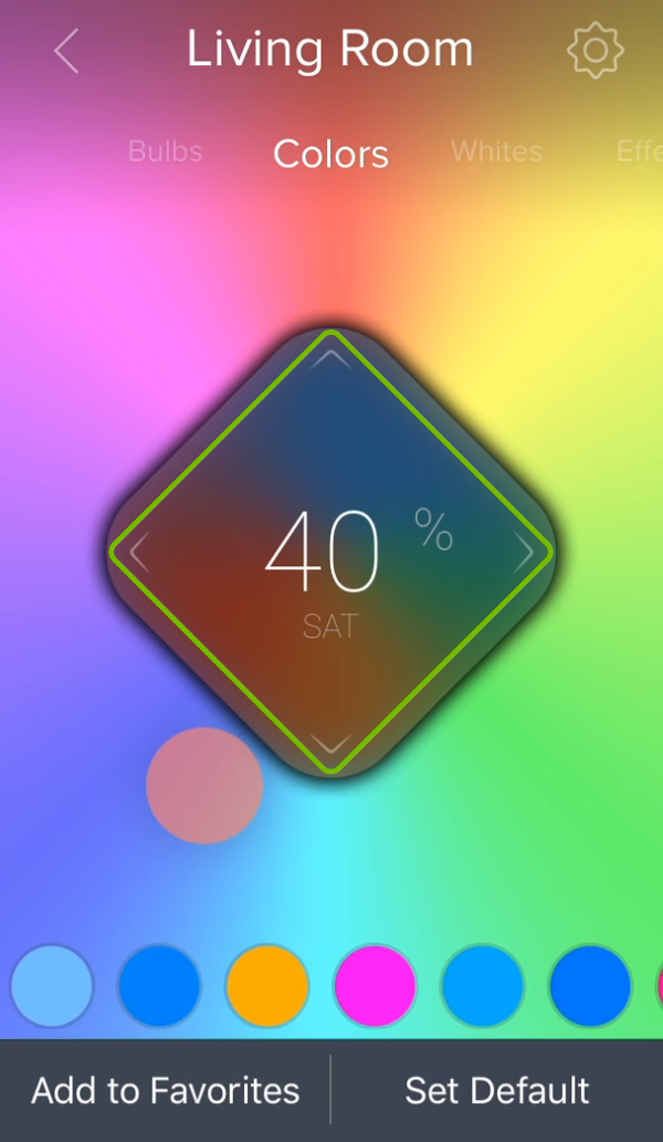 Central control diamond highlighted over the color picker in ilumi app.