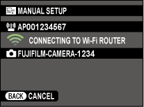 Wi-Fi connecting screen
