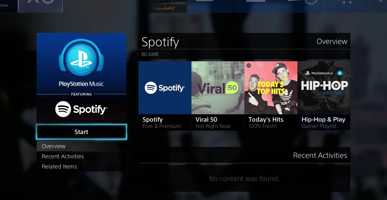 Spotify menu with different options
