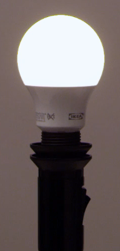Ikea light bulb installed and powered on.