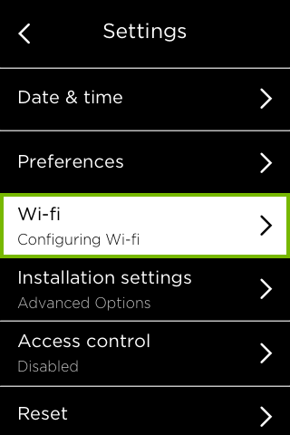 Wi-Fi option highlighted in Settings menu.
