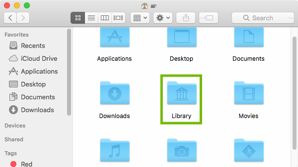 Home folder with Library highlighted.