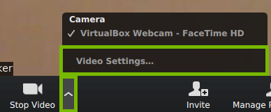 Video settings during a meeting