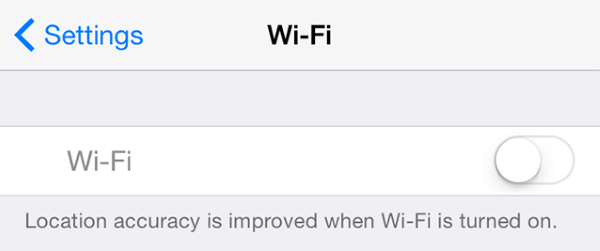 WiFi turned off in iOS settings.