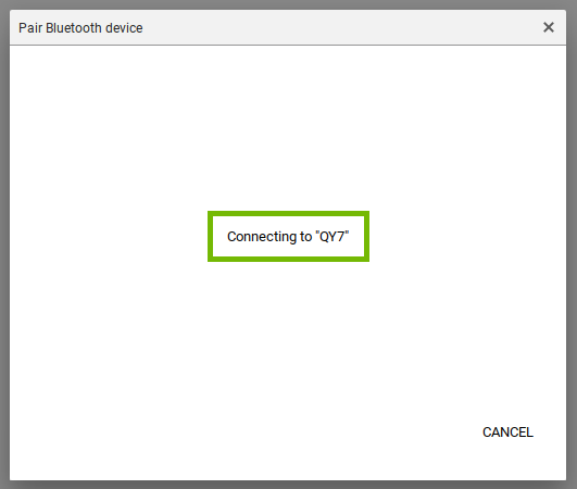 Chrome Bluetooth settings as it is connecting to a bluetooth device with the connecting message highlighted