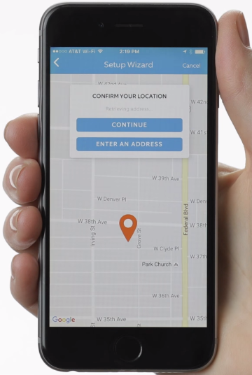 Ring app displaying a map, attempting to locate your device.