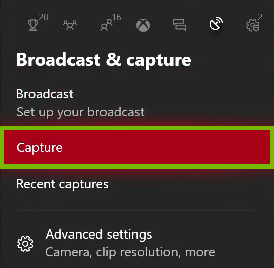 Capture option highlighted in Xbox One menu.