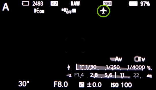 Camera screen with airplane icon highlighted