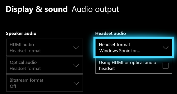 Audio output with Headset format option highlighted.