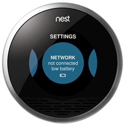 Nest thermostat settings menu highlighting the network option.