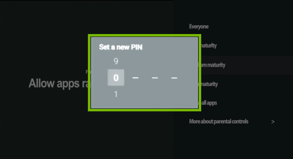 PIN setup prompt highlighted in Android TV settings.