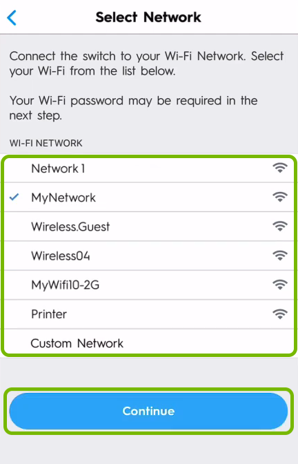 WiFi network list and Continue button highlighted on network selection screen of C by GE app.