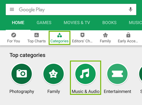 Google Play store with path to music apps highlighted.