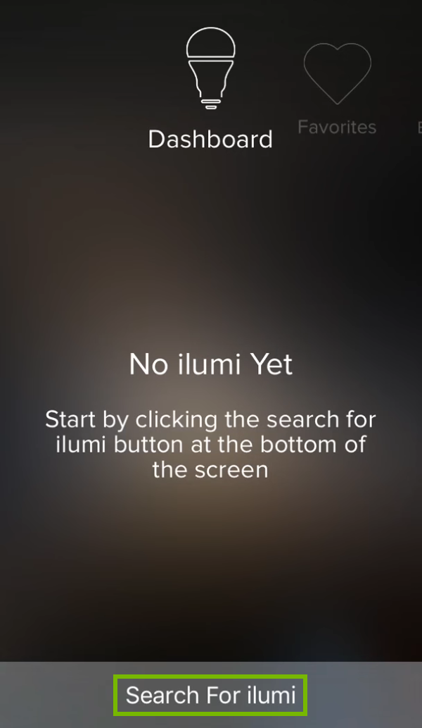 Search For ilumi option highlighted in ilumi app.
