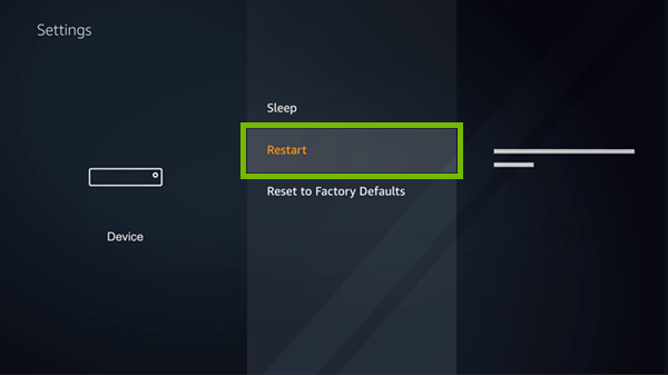 Restart option highlighted in device settings.