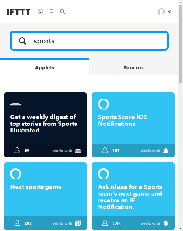 Searching for sports on IFTTT.