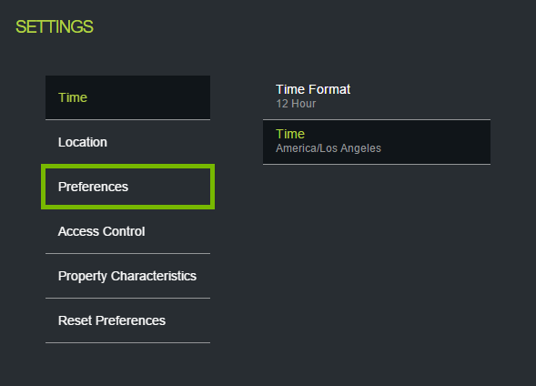 Preferences highlighted in ecobee web portal settings.