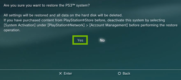 PS3 Confirmation with yes highlighted. Screenshot