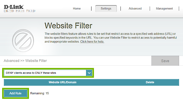 Rule type selection box and Add Rule button highlighted on Website Filter page of D-Link router web interface.