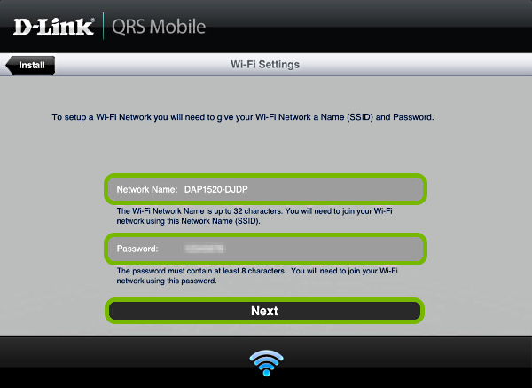 Wi-Fi credential entry fields and Next button highlighted in QRS Mobile app.