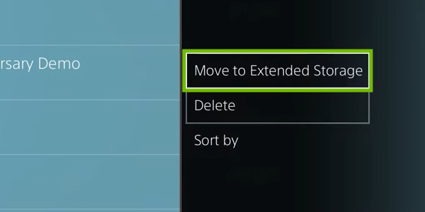 Options menu with Move to Extended Storage highlighted.