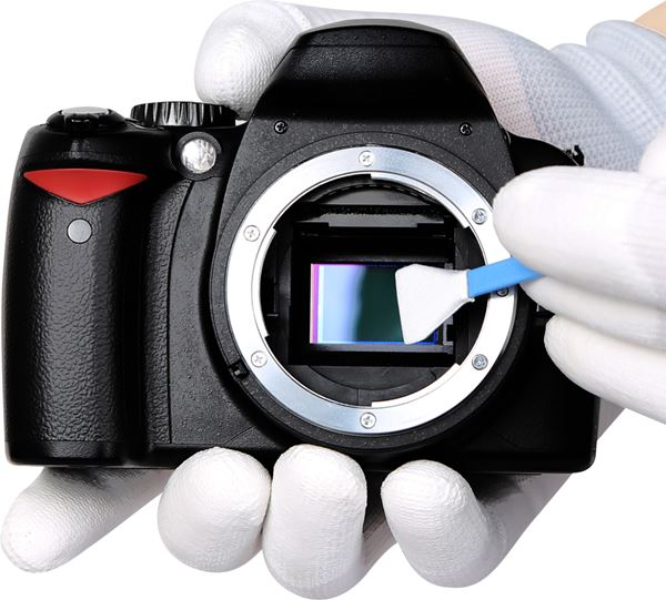 DSLR camera sensor being cleaned.
