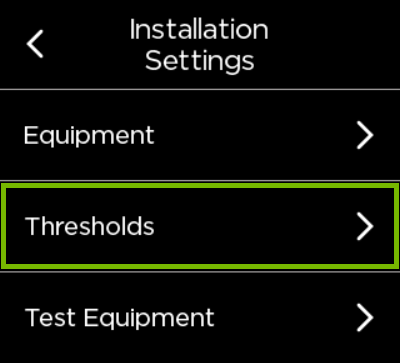 Thresholds option highlighted in ecobee settings.