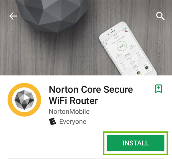 Norton Core Secure WiFi Router app page with Install highlighted.