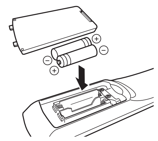 diagram showing how to insert the batteries into the remote control