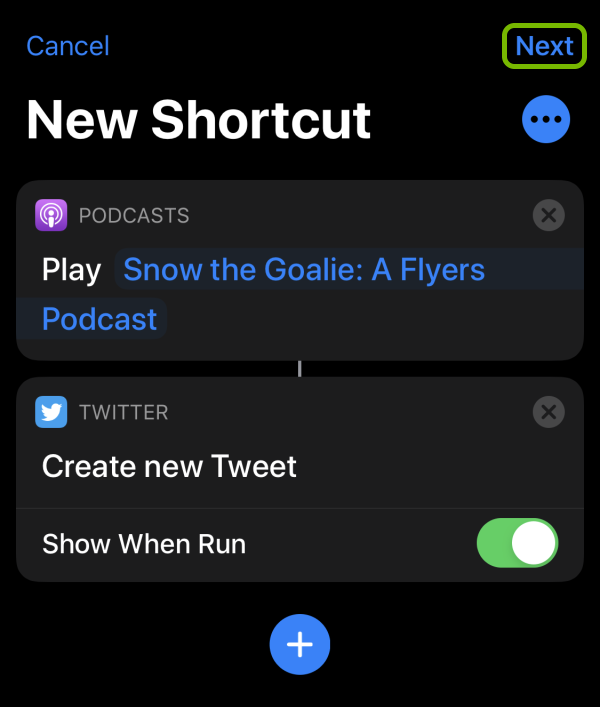 Next option highlighted in Shortcut creation screen on iOS.