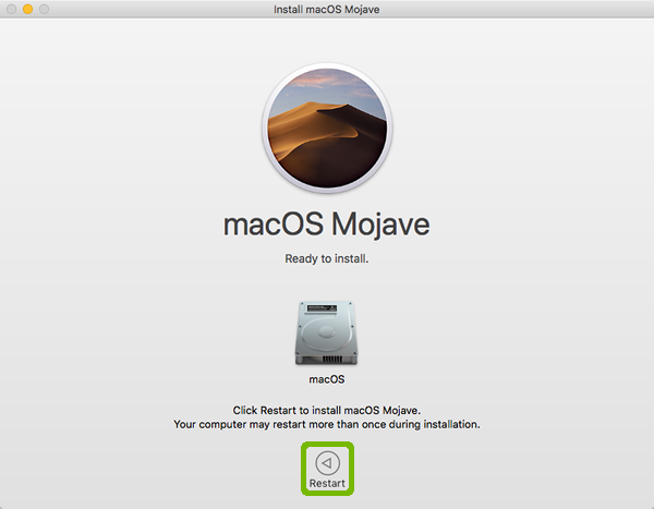Mojave Installer download complete with Restart highlighted.