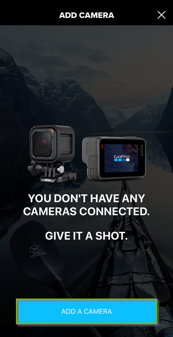Screenshot of the GoPro app with the add a camera button highlighted.